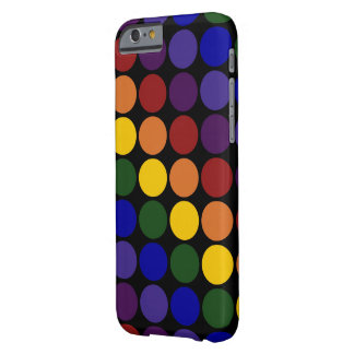 Rainbow Polka Dots on Black Barely There iPhone 6 Case