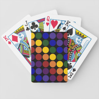 Rainbow Polka Dots on Black Bicycle Playing Cards