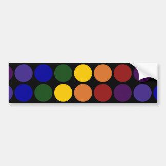 Rainbow Polka Dots on Black Car Bumper Sticker