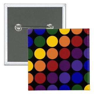 Rainbow Polka Dots on Black Button