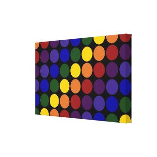 Rainbow Polka Dots on Black Canvas Print