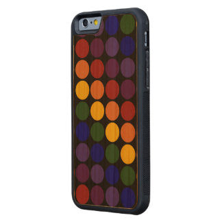Rainbow Polka Dots on Black Carved Cherry iPhone 6 Bumper Case