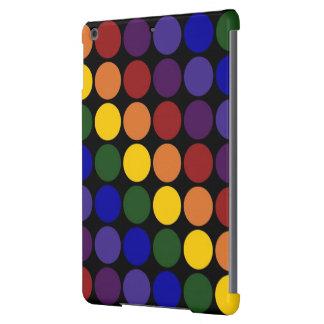 Rainbow Polka Dots on Black iPad Air Cases