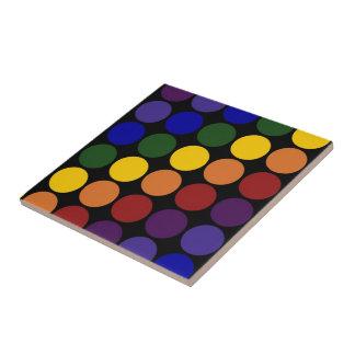 Rainbow Polka Dots on Black Ceramic Tile