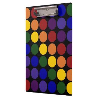 Rainbow Polka Dots on Black Clipboard