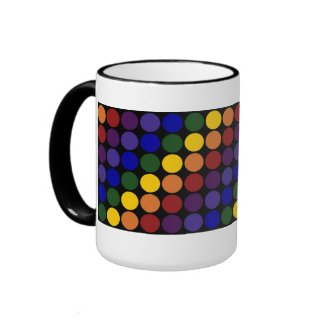 Rainbow Polka Dots on Black Coffee Mug
