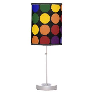 Rainbow Polka Dots on Black Desk Lamp