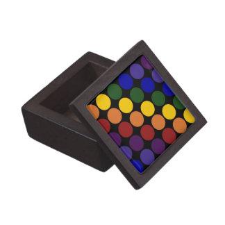 Rainbow Polka Dots on Black Gift Box