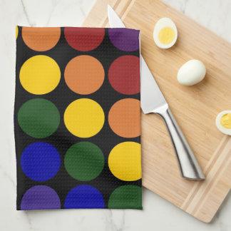 Rainbow Polka Dots on Black Hand Towels
