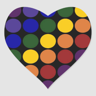 Rainbow Polka Dots on Black Heart Sticker