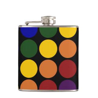 Rainbow Polka Dots on Black Hip Flask