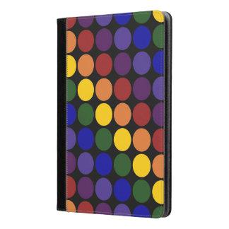 Rainbow Polka Dots on Black iPad Air Case