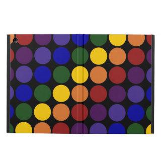 Rainbow Polka Dots on Black iPad Air Covers