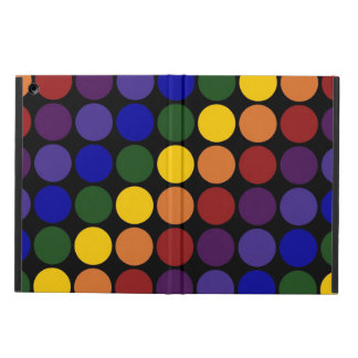 Rainbow Polka Dots on Black iPad Air Cover