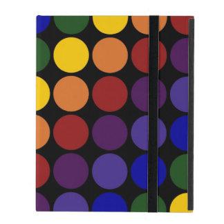 Rainbow Polka Dots On Black iPad Cover