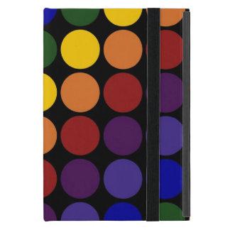 Rainbow Polka Dots On Black iPad Mini Case