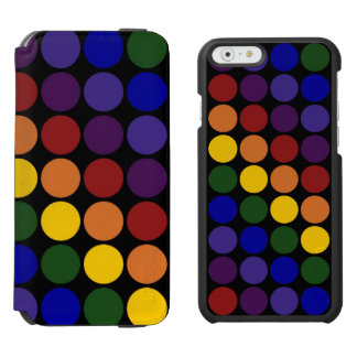 Rainbow Polka Dots on Black iPhone 6/6s Wallet Case