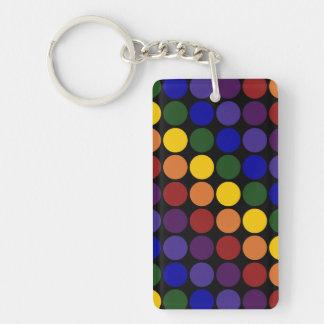 Rainbow Polka Dots On Black Rectangle Acrylic Keychain