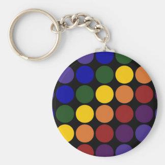 Rainbow Polka Dots on Black Keychain