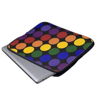 Rainbow Polka Dots on Black Laptop Sleeve