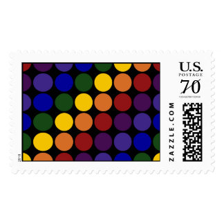 Rainbow Polka Dots on Black – Large Postage