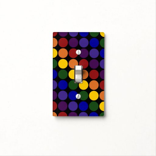 Rainbow Polka Dots on Black Light Switch Plate