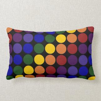 Rainbow Polka Dots on Black Lumbar Pillow