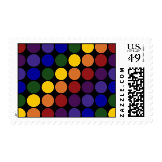 Rainbow Polka Dots on Black – Medium Postage