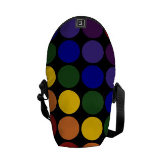 Rainbow Polka Dots on Black Messenger Bag