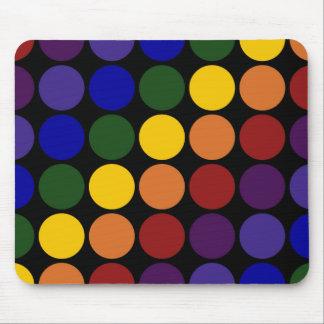 Rainbow Polka Dots on Black Mouse Pad