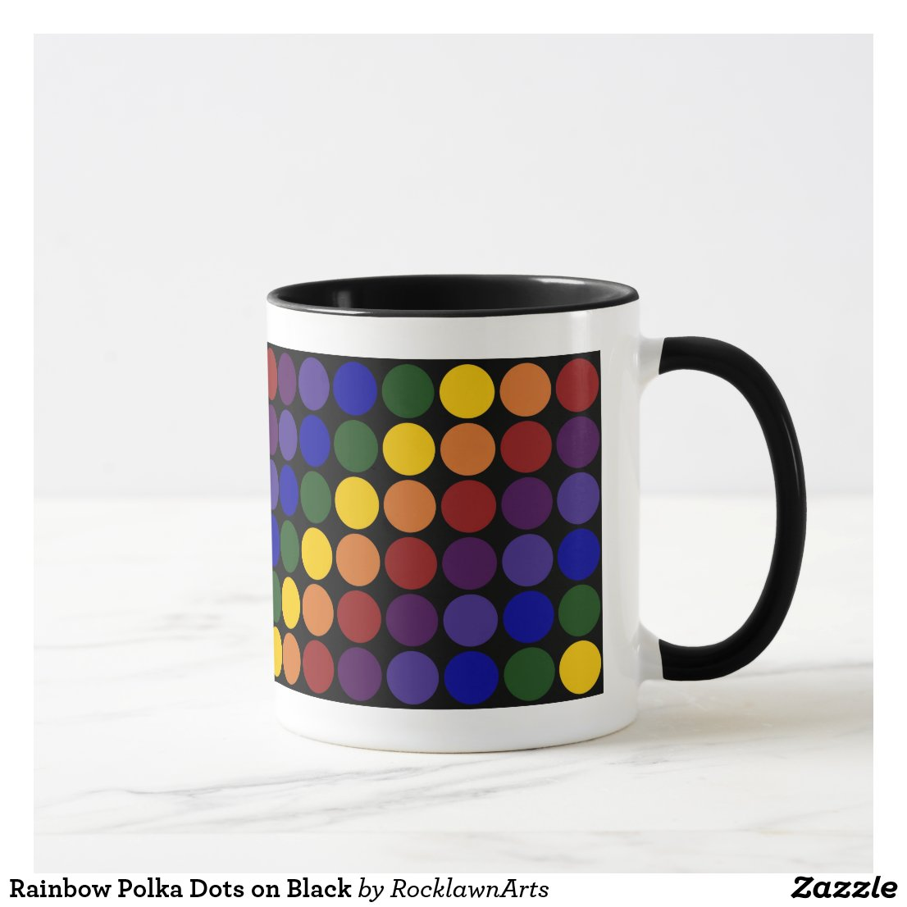 Rainbow Polka Dots on Black Mug