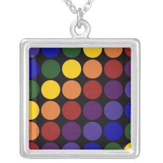 Rainbow Polka Dots on Black Square Pendant Necklace