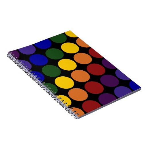 Rainbow Polka Dots on Black Note Books