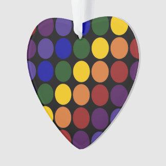 Rainbow Polka Dots on Black Ornament