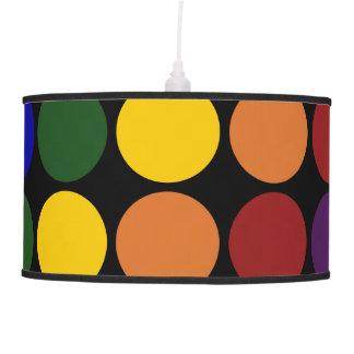 Rainbow Polka Dots on Black Pendant Lamp