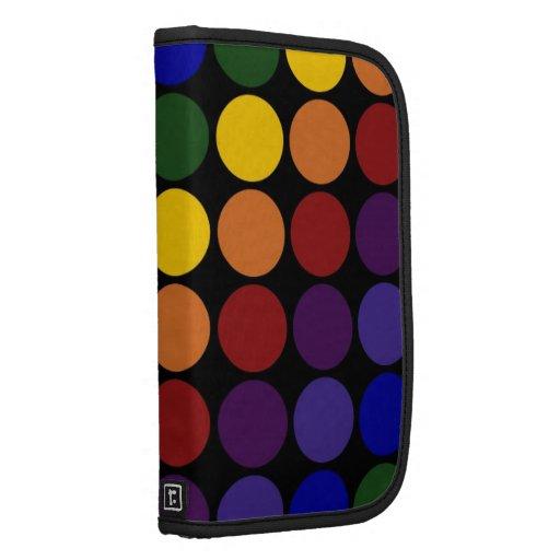 Rainbow Polka Dots on Black Planners
