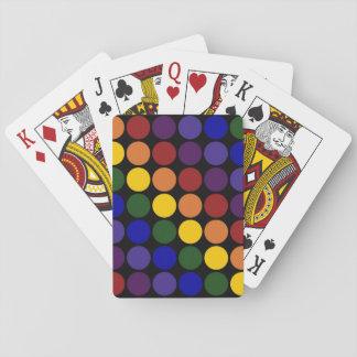 Rainbow Polka Dots on Black Playing Cards