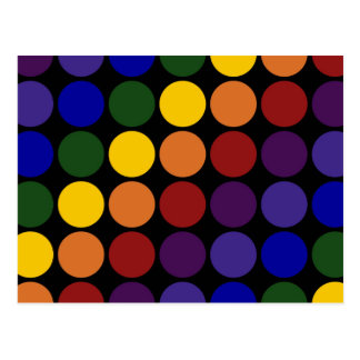Rainbow Polka Dots on Black Postcard