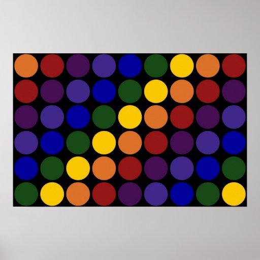 Rainbow Polka Dots on Black Poster