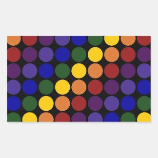 Rainbow Polka Dots on Black Rectangular Sticker