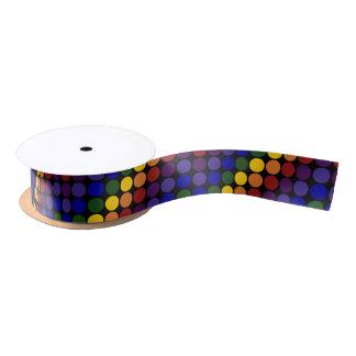Rainbow Polka Dots on Black Satin Ribbon