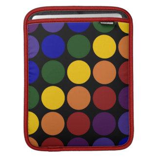 Rainbow Polka Dots on Black Sleeve For iPads