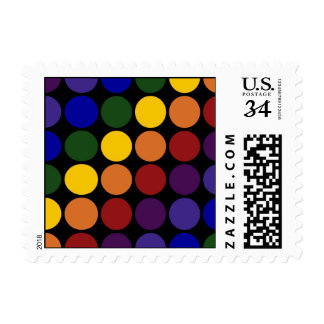 Rainbow Polka Dots on Black – Small Postage