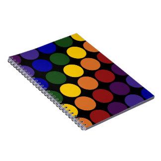 Rainbow Polka Dots on Black Spiral Notebook