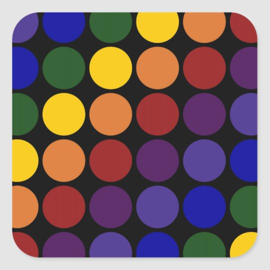 Rainbow Polka Dots on Black Square Sticker