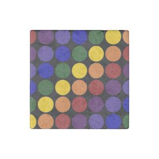 Rainbow Polka Dots On Black Stone Magnet