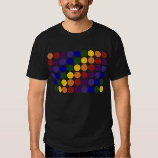 Rainbow Polka Dots on Black Tee Shirt