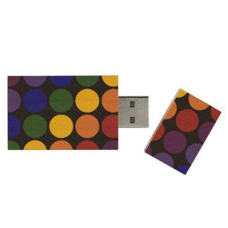 Rainbow Polka Dots on Black Wood Flash Drive