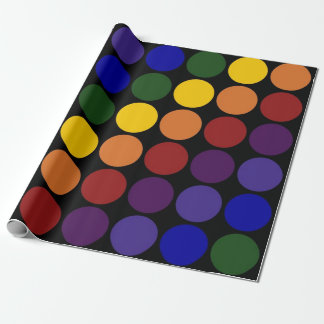 Rainbow Polka Dots on Black Wrapping Paper