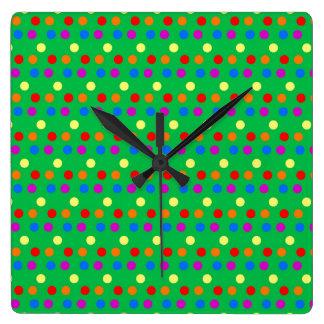 Rainbow Polka Dots on Bright Green Square Wall Clocks